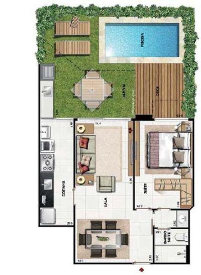 Plantas de casas pequenas com piscinas for Casa de campo pequena con piscina