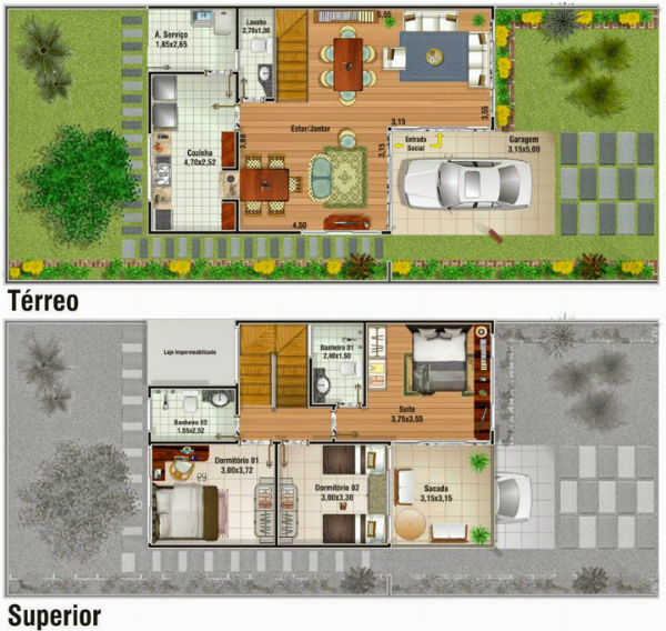 Plantas de Casas de Dois Andares