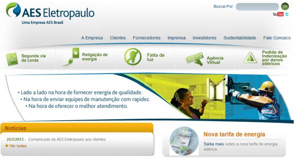 site mostra melhorias da eletropaulo