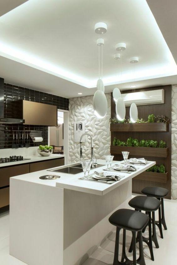 cozinha planejada pequena com ilha moderna gourmet