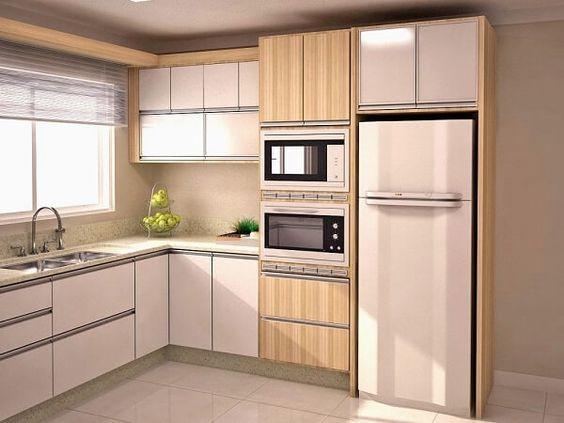 cozinha planejada pequena em L madeira