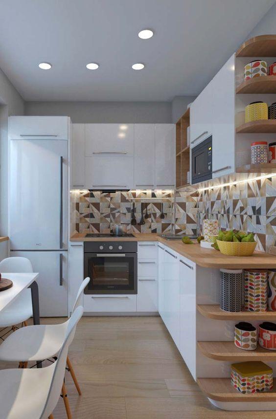 cozinha planejada pequena em L papel de parede