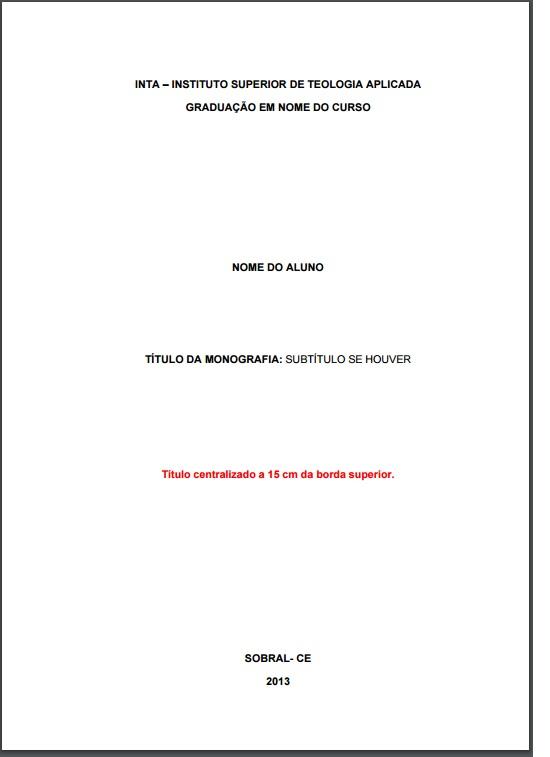 Regras para monografia abnt