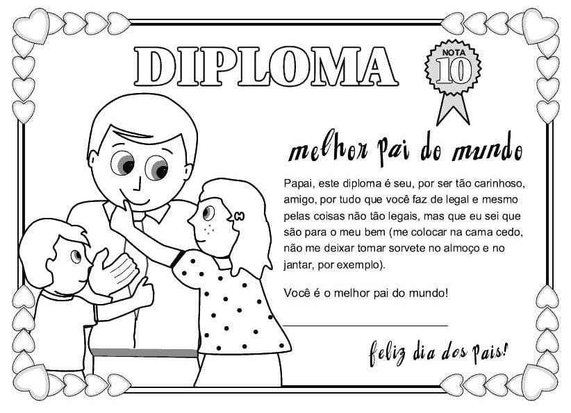 Cartão de Dia dos Pais diploma pintar