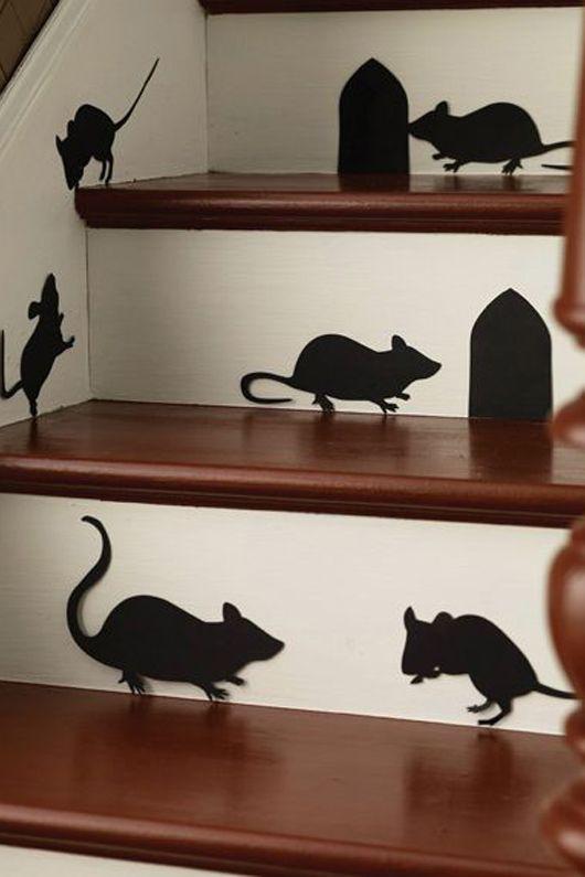decoração de escada para halloween