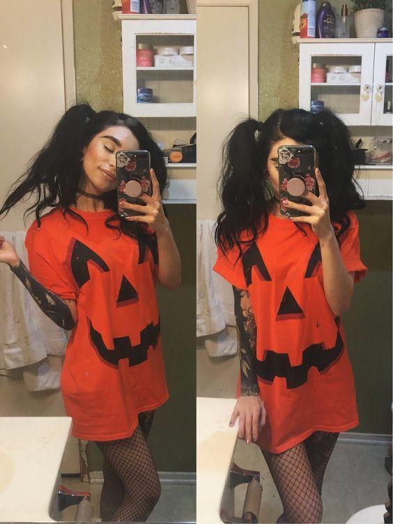 fantasia de abobora de halloween feminina