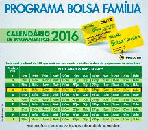 Bolsa Família calendário 2016