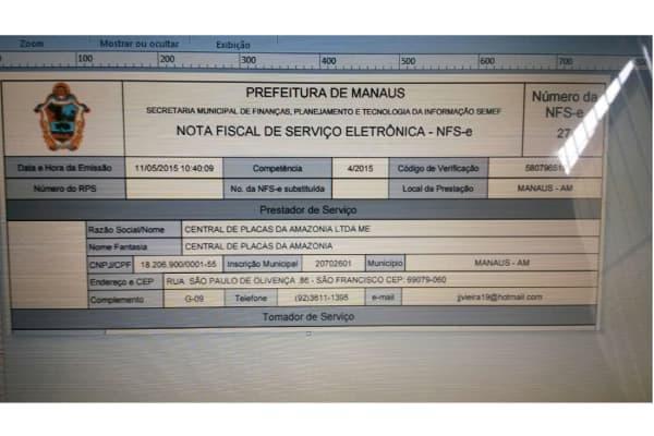 Nota fiscal Eletrônica Manaus site da prefeitura