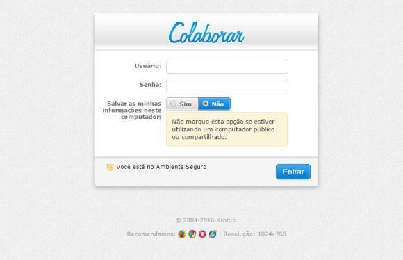Fazendo login no sistema Colaborar (Foto: Reprodução Unopar)