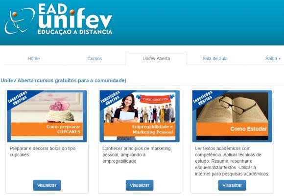 UNIFEV cursos gratuitos EAD