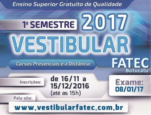 As inscrições para o Vestibular Fatec vão até o dia 15 de dezembro (Foto: Reprodução Fatec)