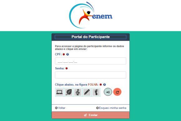 Página do Participante do Enem 2016 (Foto: Reprodução INEP)