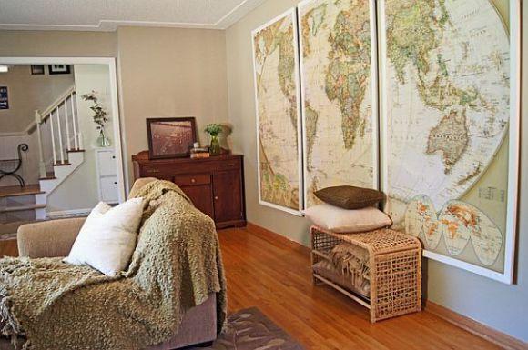 Decore salas, quartos e até cozinhas com mapas (Foto Ilustrativa)