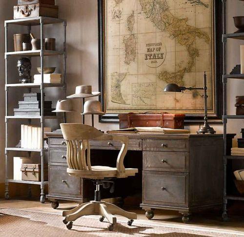 Decoração do escritório com mapa (Foto Ilustrativa)