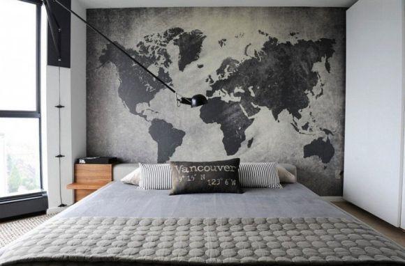 Quarto decorado com mapas (Foto Ilustrativa)