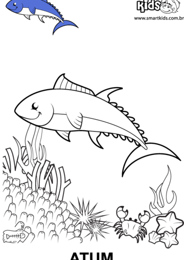 desenho para colorir animal atum