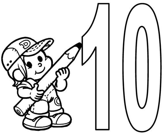 desenho para colorir numeral 10