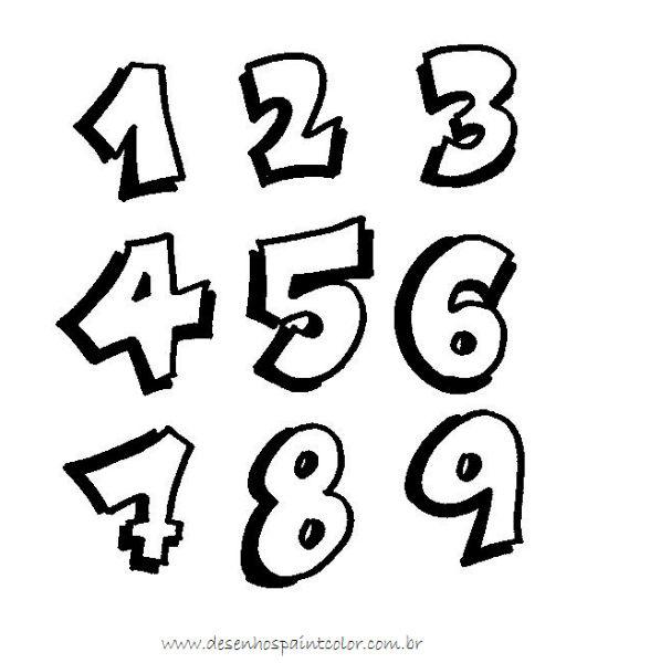 desenho para colorir numeral 1 ao 9