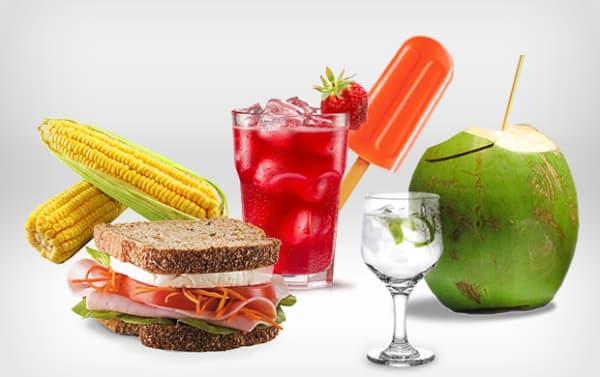 Dicas de Alimentação para o Carnaval água de coco e sanduíche natural