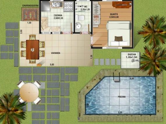 Planta de Casas com Área de Lazer 1