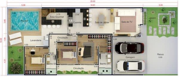 Planta de Casas com Área de Lazer 2