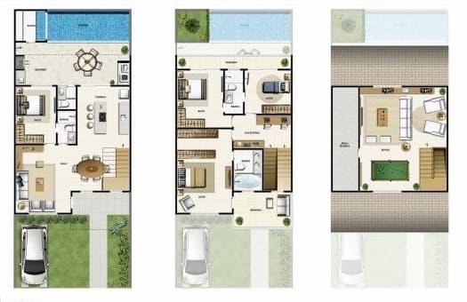 Planta de Casas com Área de Lazer 3