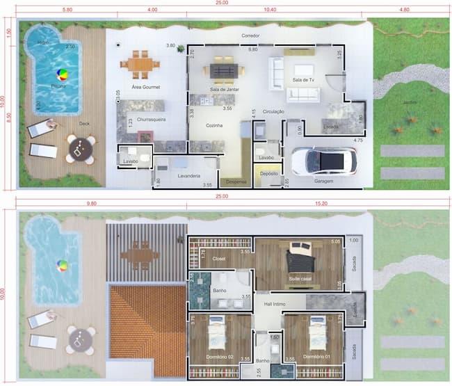 Planta de Casas com Área de Lazer