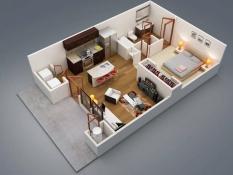 Plantas de Casas Modernas com 1 Quarto 1