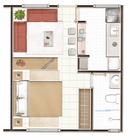 Plantas de Casas Modernas com 1 Quarto 4
