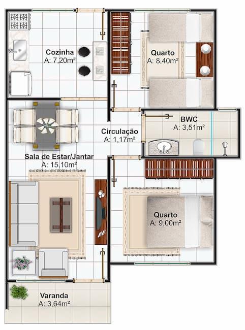 Plantas de Casas com 2 Quartos 2
