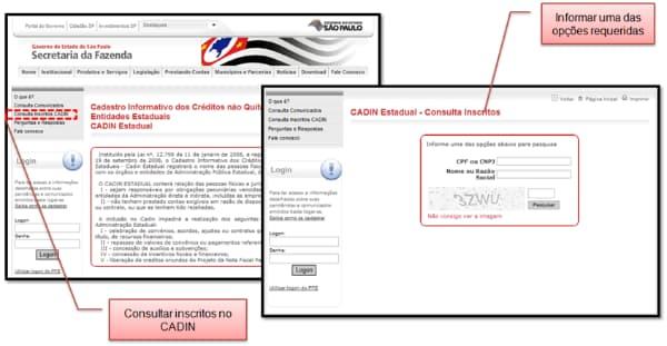 Cadin Estadual SP - Consulta de pendências