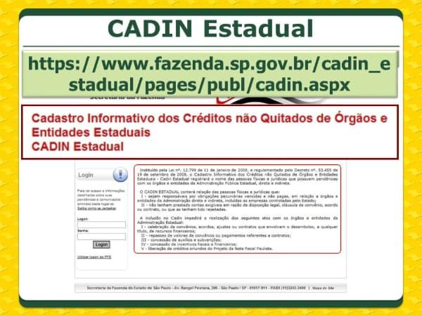 Cadin Estadual SP - acesso