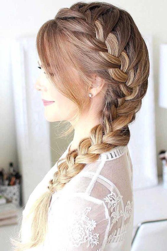 Trança lateral cabelo grande
