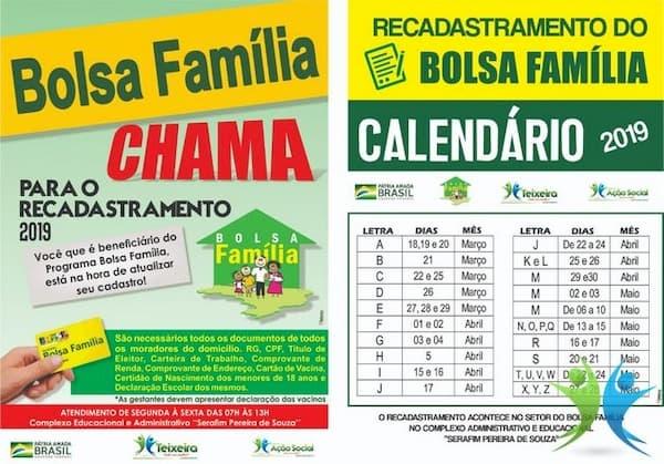 Recadastramento do Bolsa Família Calendário