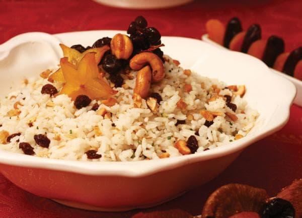 ceia de ano novo arroz natalino
