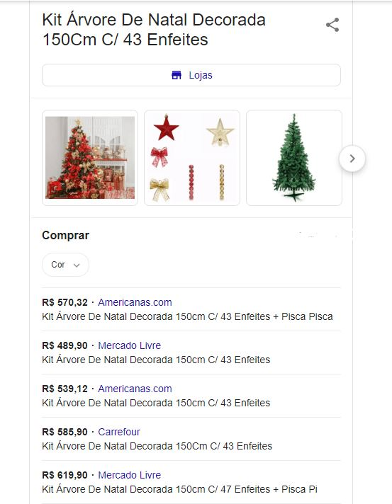 kit arvore de natal decorada