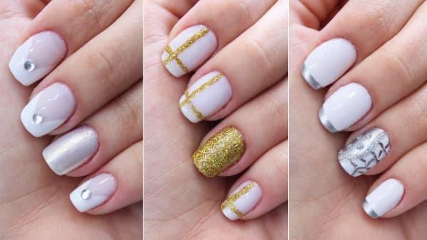 unhas decoradas para reveillon com dourado e prateado