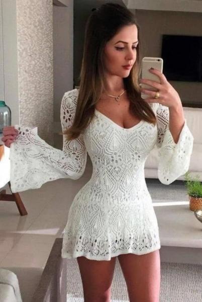 vestido de renda para o reveillon com manga flar