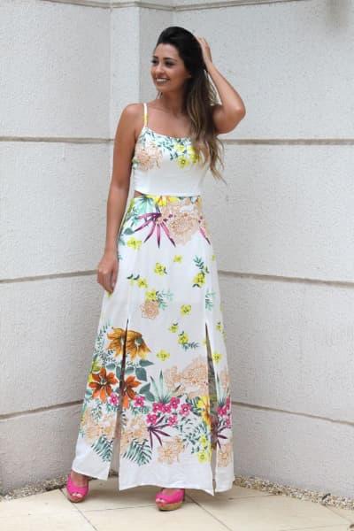 vestido longo para o reveilon com estampa floral
