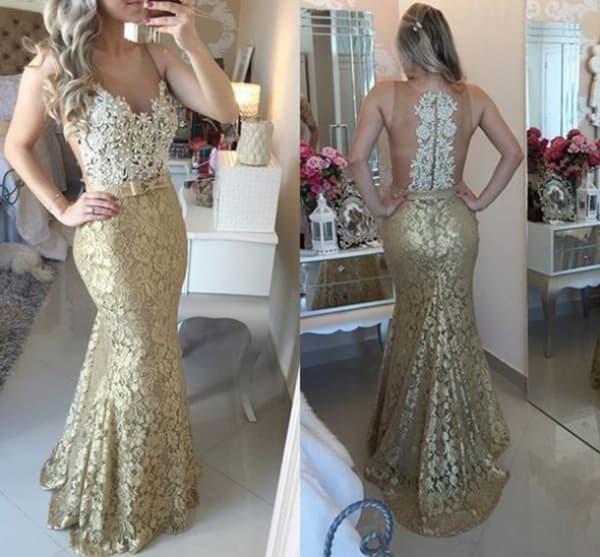 vestido para natal de renda dourado