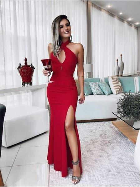 vestido para natal longo vermelho 2