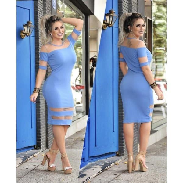vestido para natal tubinho azul com manga
