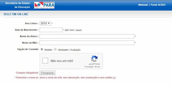 consulta online seduc para