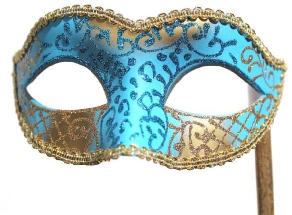 Modelos de máscara de Carnaval azul com dourado