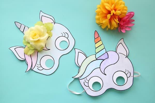Modelos de máscara de Carnaval unicornio de papel