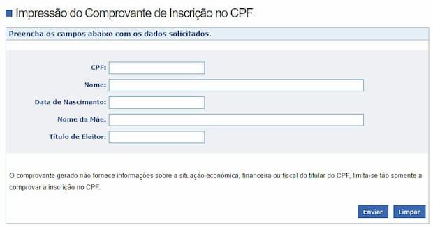 impressão do comprovante de inscrição no cpf