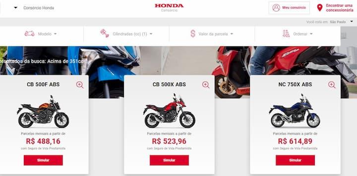 motos no consorcio honda