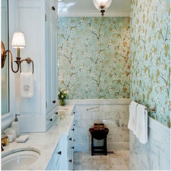 216666 papel de parede no banheiro verde 600x600 Papel de Parede para Banheiro, modelos para decorar