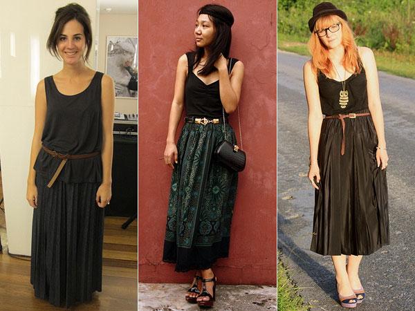 265054 maxi skirt camiseta Alongando Saias e Vestidos