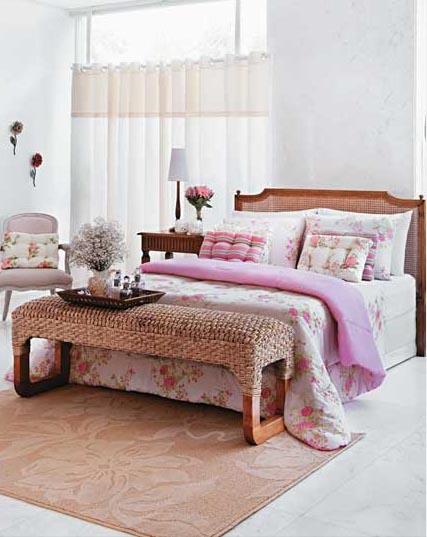 278231 quartos decorados com estampas florais Decoração com Estampas Florais